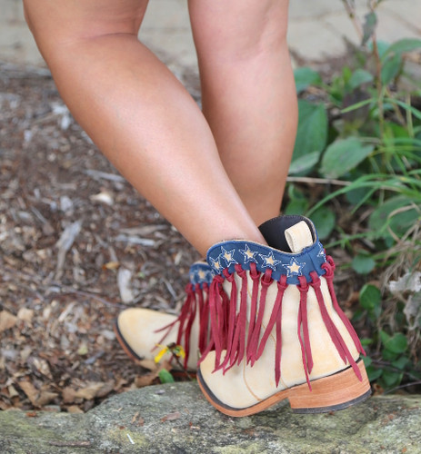 Liberty Black USA Shortie Vintage Beige Boots LB713304 Heel