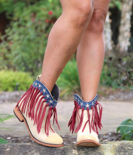 Liberty Black USA Shortie Vintage Beige Boots LB713304 Image