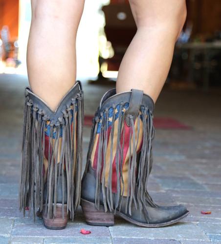 Liberty Black Fringe American Flag Boot Smog Boots LB712937 Heel