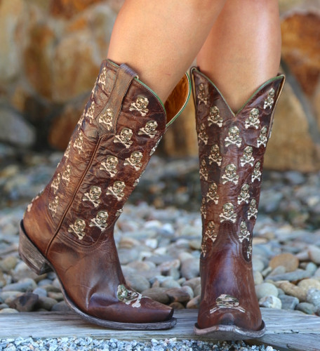 Old Gringo Skull & Bones Brass Boots L2470-4 Side