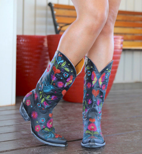 Old Gringo Pajaro Black Boots L2476-3 Toe