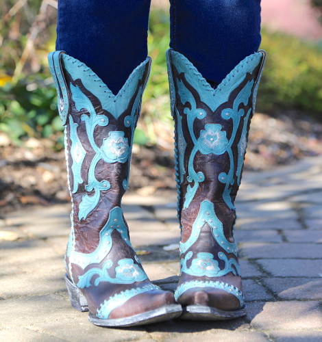 Yippee by Old Gringo Femi Aqua Chocolate Boots YL220-1 Front