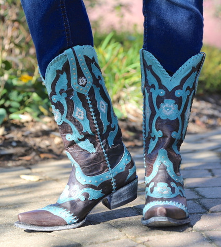 Yippee by Old Gringo Femi Aqua Chocolate Boots YL220-1 Toe