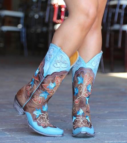 Old Gringo Vivien Brass Blue Boots L2622-5 Image