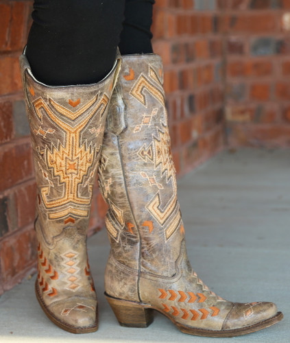 Corral Brown Multicolor Jute Inlay Boots A3163 Image
