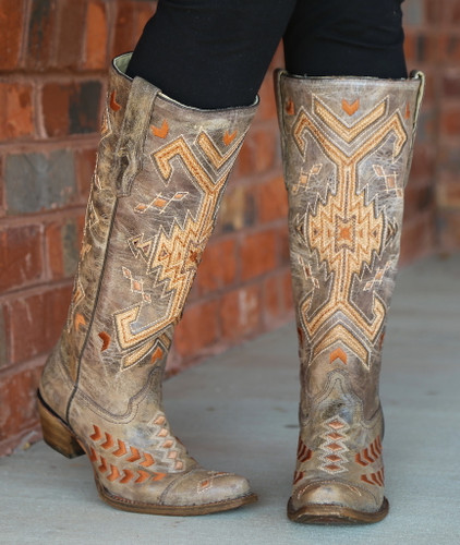 Corral Brown Multicolor Jute Inlay Boots A3163 Toe
