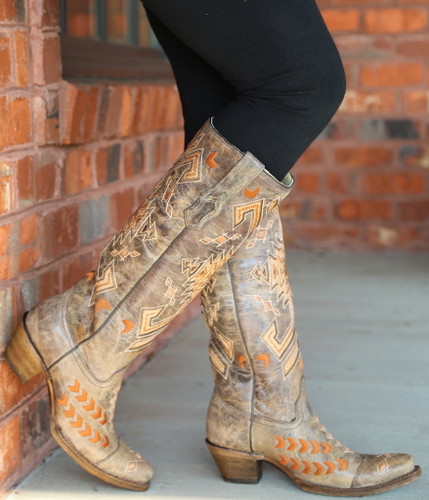 Corral Brown Multicolor Jute Inlay Boots A3163 Side
