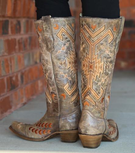 Corral Brown Multicolor Jute Inlay Boots A3163 Heel