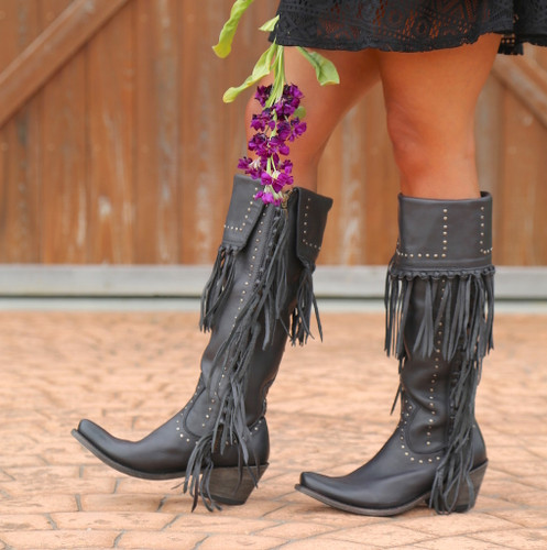 Liberty Black Tall Fringe Zipper Boot LB71167 Negro Image