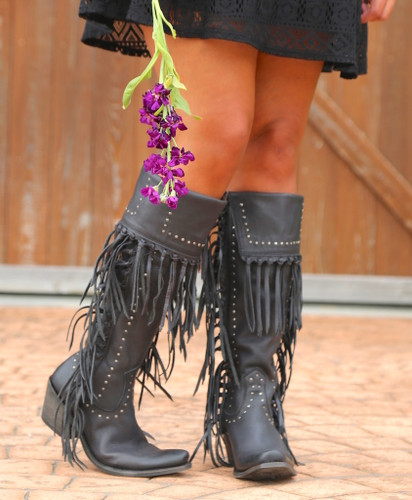 Liberty Black Tall Fringe Zipper Boot LB71167 Negro Picture