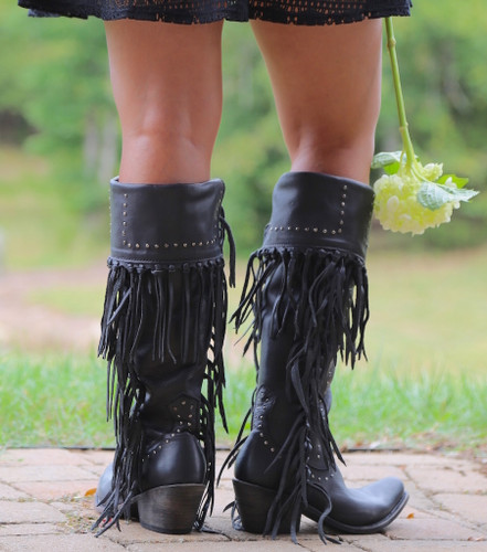 Liberty Black Tall Fringe Zipper Boot LB71167 Negro Heel