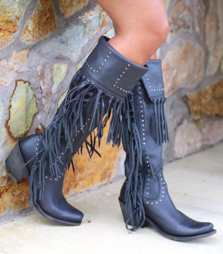 Liberty Black Tall Fringe Zipper Boot LB71167 Negro Toe