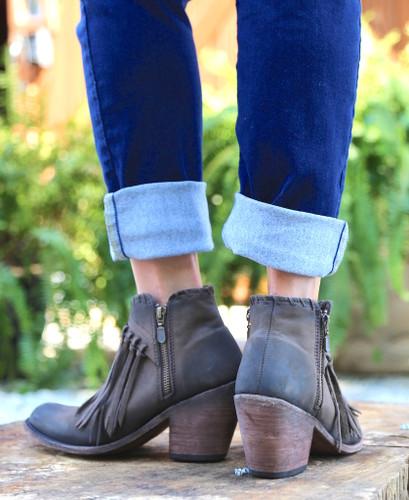 Liberty Black Fringe Zipper Shortie Boot Smog LB712323 Heel