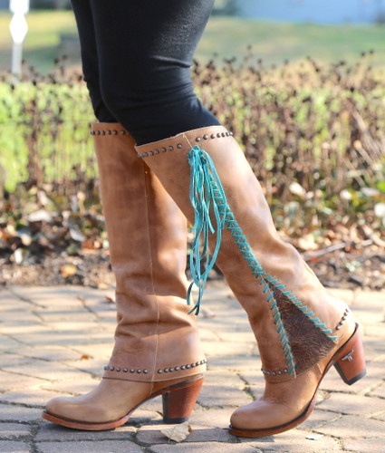Lane Hoodie Tan with Turquoise Boots LB0309A Photo