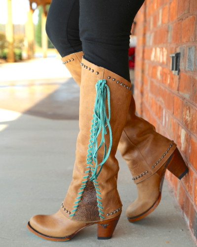 Lane Hoodie Tan with Turquoise Boots LB0309A Side