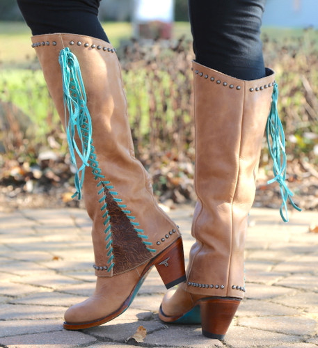 Lane Hoodie Tan with Turquoise Boots LB0309A Heel