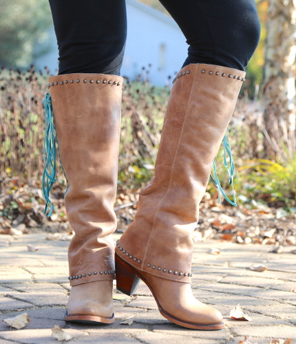 Lane Hoodie Tan with Turquoise Boots LB0309A Toe