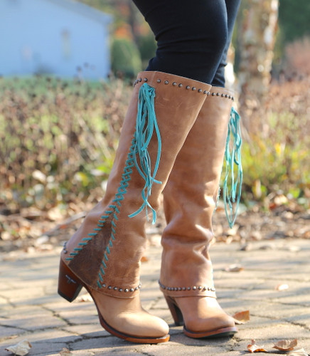 Lane Hoodie Tan with Turquoise Boots LB0309A Image