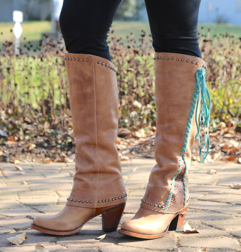 Lane Hoodie Tan with Turquoise Boots LB0309A Fringe