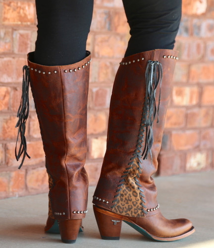 Lane Hoodie Brown with Cheetah Print Trim and Leather Lace  Boots LB0309B Heel