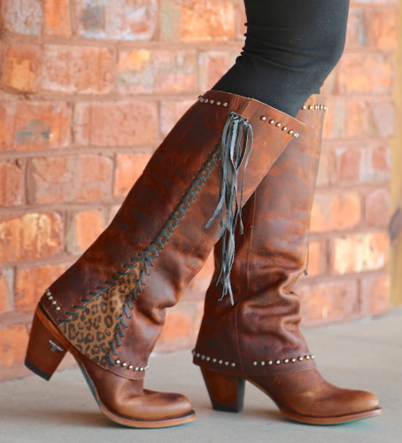 Lane Hoodie Brown with Cheetah Print Trim and Leather Lace  Boots LB0309B Picture