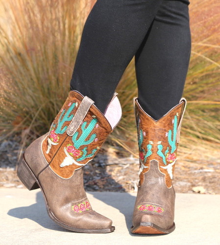 Junk Gypsy by Lane Bramble Rose Boots with Caramel Shaft JG0015C Toe