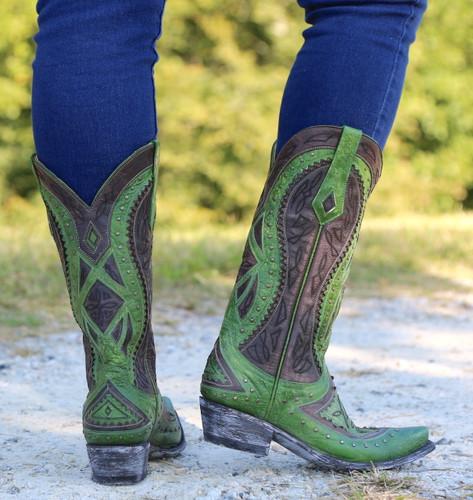 Old Gringo Urbi Green Chocolate Boots L2678-3 Heel