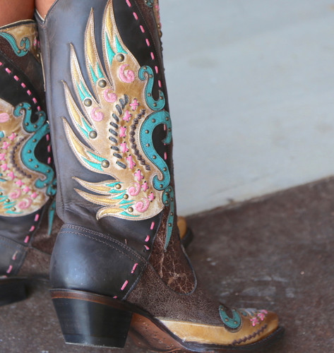 Corral Brown Multi-Color Swan Overlay Boots R1383 Image