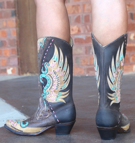 Corral Brown Multi-Color Swan Overlay Boots R1383 Heel