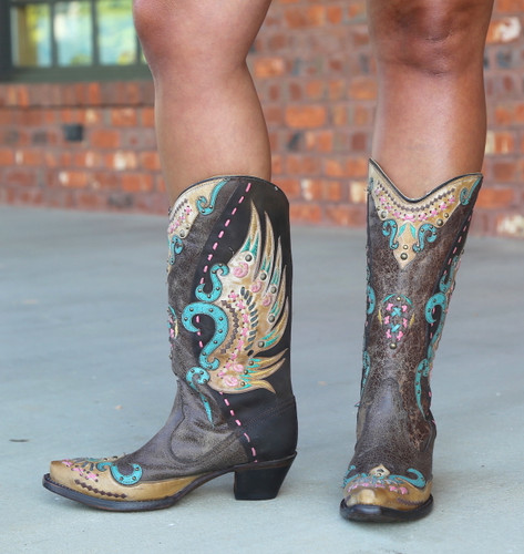 Corral Brown Multi-Color Swan Overlay Boots R1383 Side