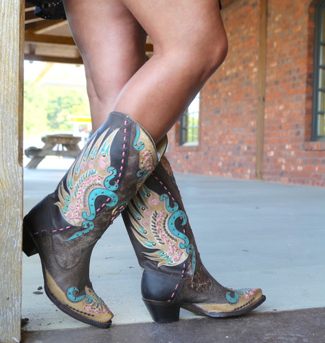 Corral Brown Multi-Color Swan Overlay Boots R1383 Picture