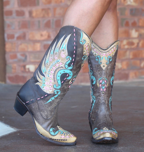 Corral Brown Multi-Color Swan Overlay Boots R1383 Toe