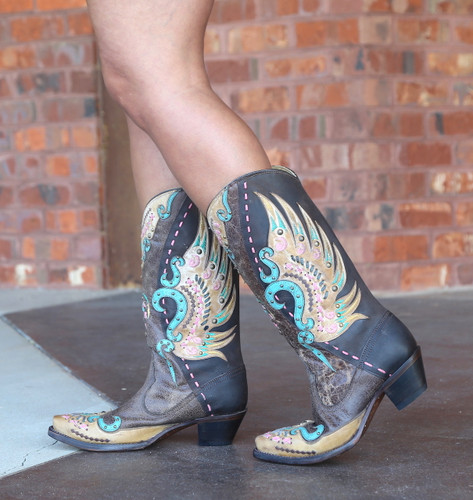 Corral Brown Multi-Color Swan Overlay Boots R1383 Walk