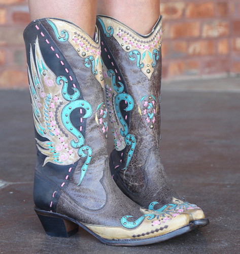 Corral Brown Multi-Color Swan Overlay Boots R1383 Photo