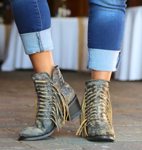 Corral Black Fringes Ankle Boot E1228 Toe