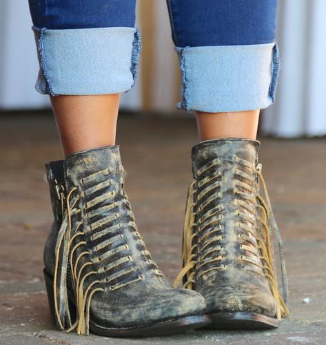 Corral Black Fringes Ankle Boot E1228 Front