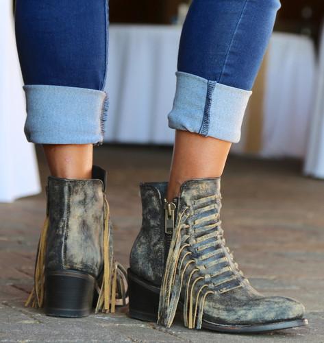 Corral Black Fringes Ankle Boot E1228 Heel