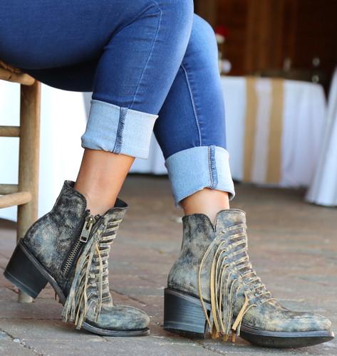 Corral Black Fringes Ankle Boot E1228 Photo
