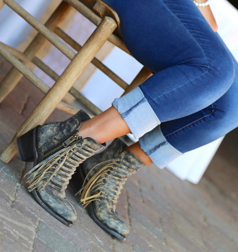 Corral Black Fringes Ankle Boot E1228 Picture
