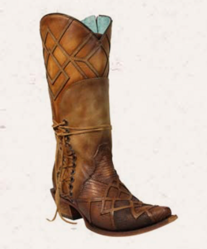 Corral Honey Lizard Laser Overlay and Lace Boot C3189 Manufacturer Image