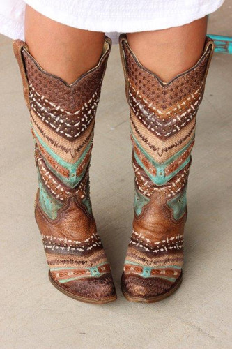 Corral Turquoise Brown Embroidery and Studs A3381 Main Image