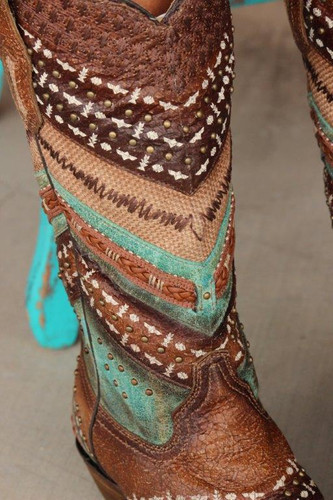 Corral Turquoise Brown Embroidery and Studs A3381 Close Picture