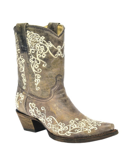 Corral Brown Crater Bone Embroidery Short Boot A3190 Picture