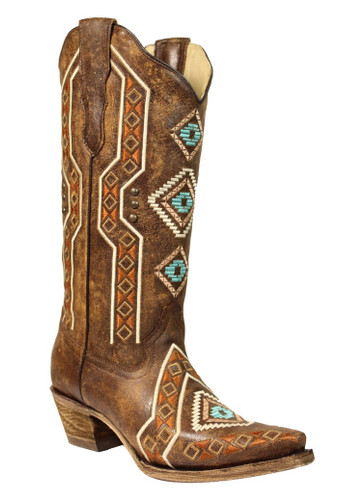 Corral Brown Ethnic Embroidery and Studs E1178 Picture