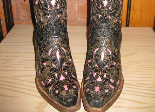 Corral Black Cognac Pink Boots A1953 Toe Picture