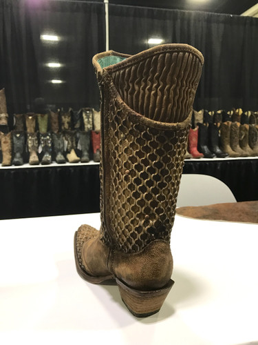 Corral Camel Netting Overlay and Studs Boot C3182 Heel