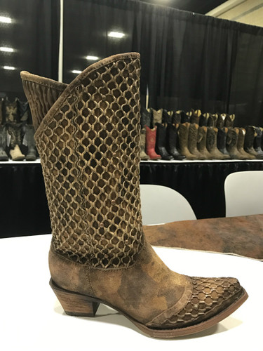 Corral Camel Netting Overlay and Studs Boot C3182 Picture