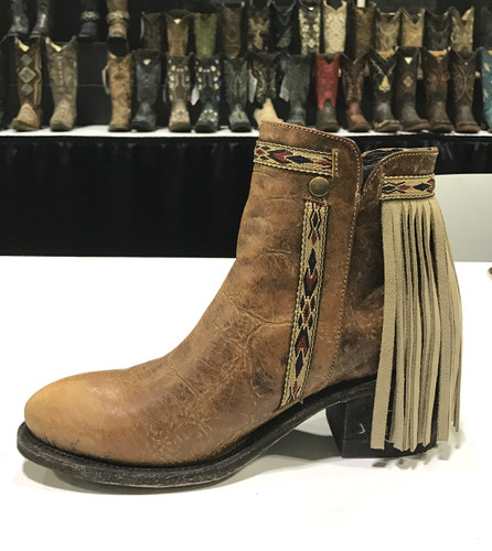 Corral Brown Fringes J Toe Ankle Boot E1215 Image