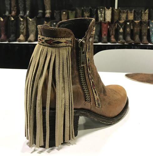 Corral Brown Fringes J Toe Ankle Boot E1215 Heel