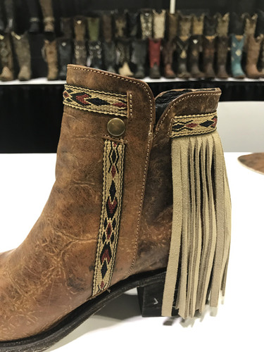 Corral Brown Fringes J Toe Ankle Boot E1215 Side